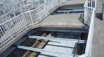 最終沈殿池用傾斜板沈殿分離装置の設置例
