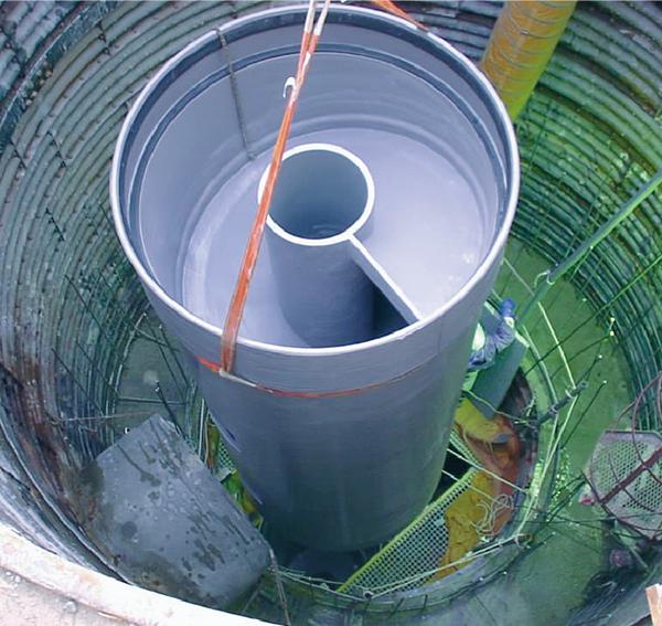 高落差処理 強プラ製らせん案内路式ドロップシャフト/中心筒昇降型ドロップシャフト